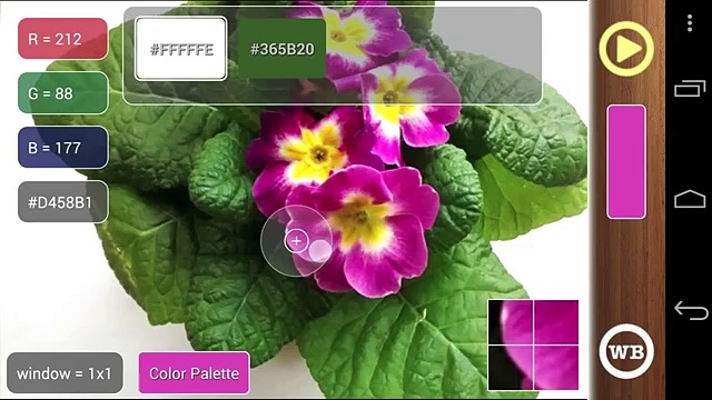 ColorMeter  – pick live colors around using camera or photos. Android app for phones and tablets.