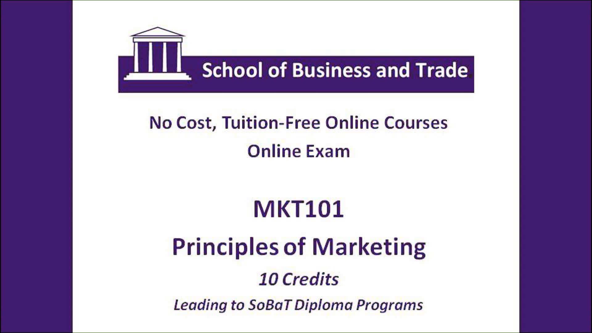 Free Online Courses | Principles of Marketing | Diploma in Accounting and Finance