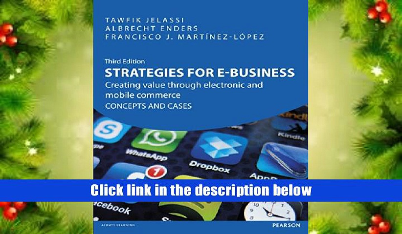 Epub  Strategies for e-Business: Creating Value Through Electronic   Mobile Commerce Concepts