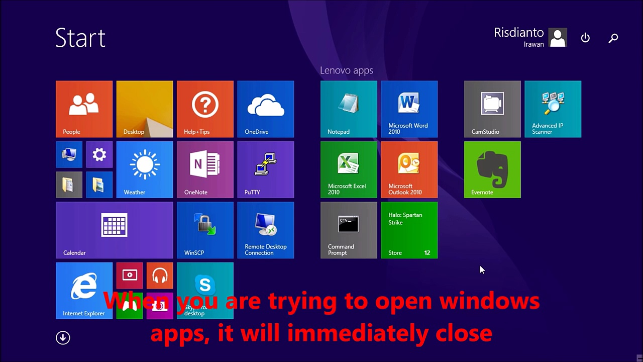 How to fix, windows 8.1 apps not working (close immediately)